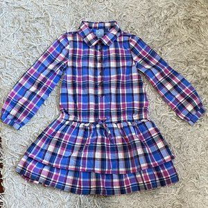 Baby Gap Girl's Plaid Blue Button Down Dress 5T